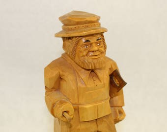 Hand carved wooden construction figurine removable saw man cave construction builder figurine