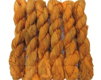 New! 50g Recycled Sari Silk Ribbon, 25-28 yards , color Yolk