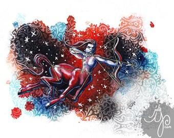 Sagittarius- The Archer- Mixed Media Fabric Illustration- Framed Original
