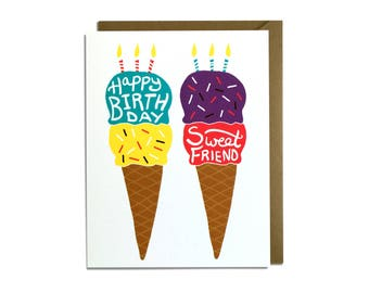 Birthday Card - Sweet Birthday Card, Ice Cream Cone Card, Friend Birthday Card