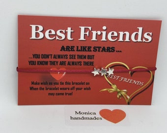 Friendship stars bracelet, BEST FRIENDS, satin cord and tibetan silver stars, Buy1get1FREE, A variaty of colours available