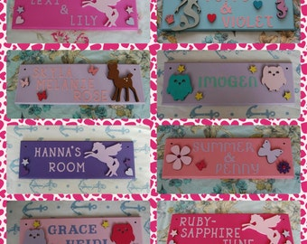 Personalised Bedroom Door Girls Name sign plaque. Any Name/Names, Any colours. Mermaids Unicorn Shared Bedroom Pink owl deer Baby Girl Kids
