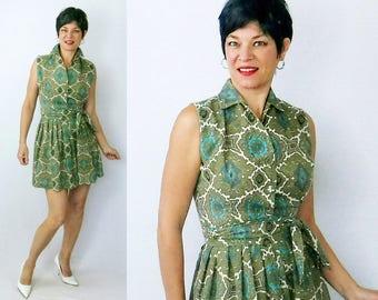 """60s Dress / 1960s Dress / Mini Dress / Green Dress / Day Dress / 1960s Mini Dress / 60s Mini Dress / Mod Dress / 1970s 70s Dress / Waist 26"""""""