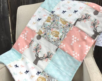 Baby Blanket, Patchwork Crib Blanket, Nursery Bedding, Crib Bedding, Crib Blanket
