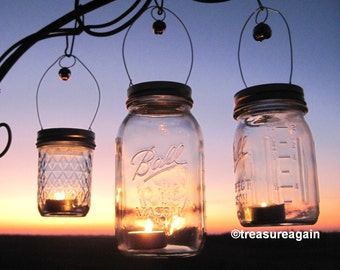 Candle Party Favors DIY Tea Light Lantern Holiday Gifts, Mason Jar Candle Hangers Only, Mason Jar Weddings, 12 or More