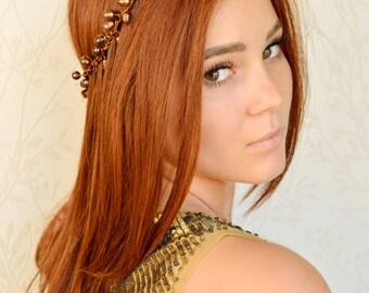 Fantasy Crown, Copper pearl hair accessories, Steampunk hair wreath, Warrior princess headpiece, Brass headband