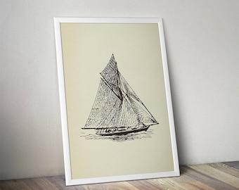 PRINTABLE Yacht Art Print, Vintage Yacht Wall Art, Extra Large Print Poster, Lithograph, Drawing Printable, Sailing Boat, Ship, Vessel