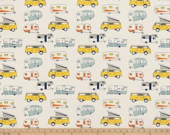 "Retro Vintage Camper Fabric by the yard Premier Prints Maya Macon Fabric Yardage Home Decor Fabric 54"" Wide Upholstery Fabric"