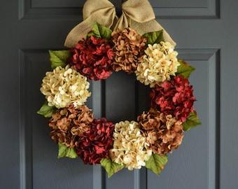Fall Door Wreath | Hydrangea Wreath |  Front Door Wreaths | Fall Wreaths | Wreath | Door Decor | Autumn Wreaths | Wreaths for Doors