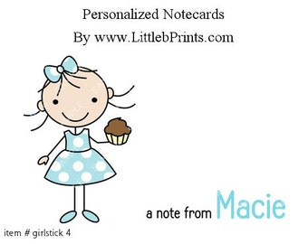Stick Figure Girl Cupcake Note Cards Set of 10 personalized flat or folded cards
