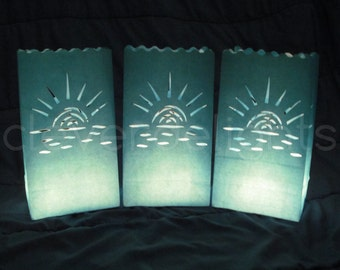 100 Luminary Bags - Blue - Sunset Design - Wedding, Reception, and Party Decor - Flame Resistant Paper - Candle Bag - Luminaria