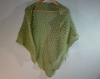 large triangle crochet shawl, light green crochet wrap, cotton crochet scarf
