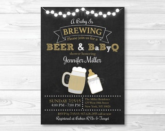 Baby is Brewing Baby Shower Invitation / BaByQ Baby Shower Invitation / BBQ baby shower / Chalkboard / Coed Shower / PRINTABLE A116