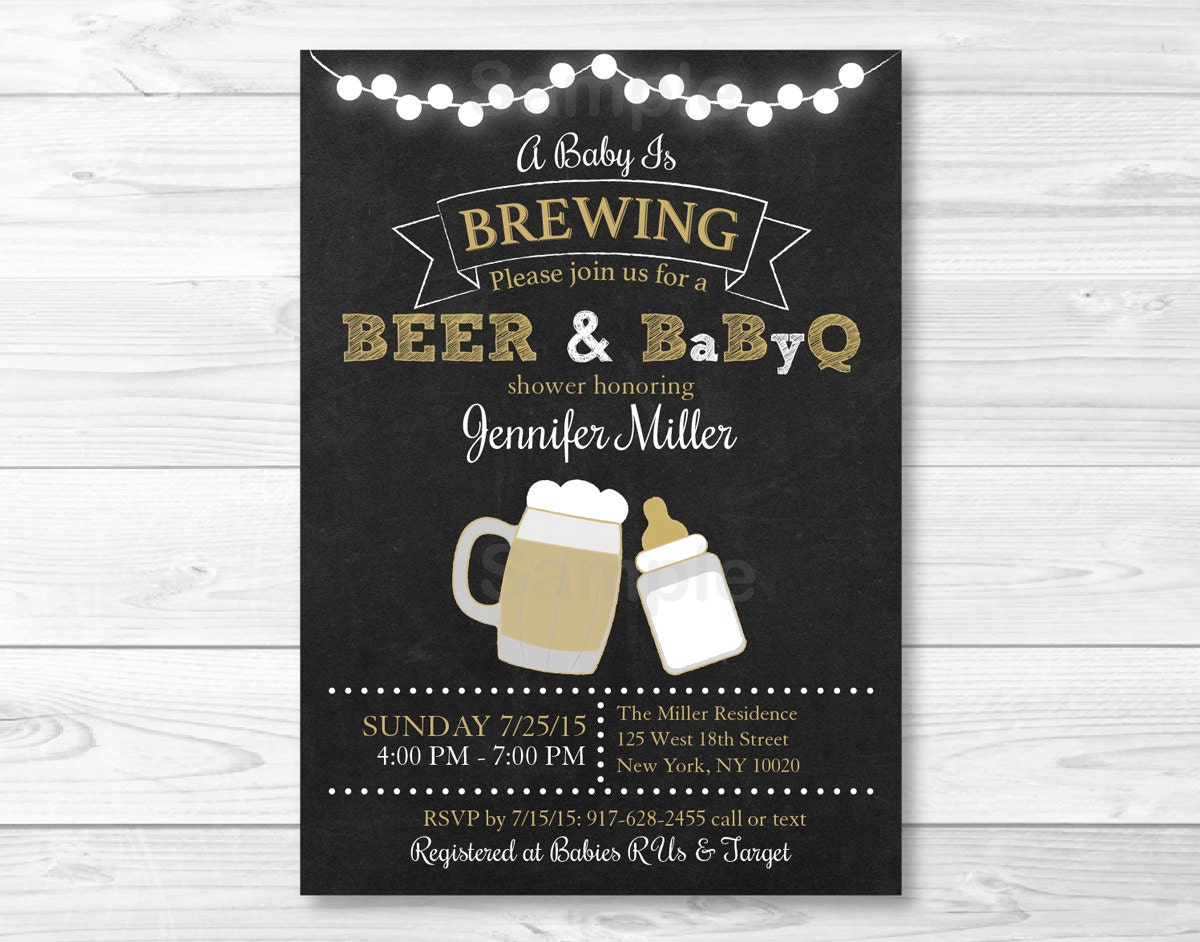 BBQ Baby Shower Invitation / BaByQ Baby Shower Invitation /