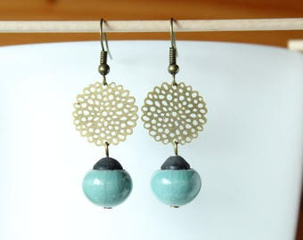 Handcrafted celadon blue raku Pearl Earrings