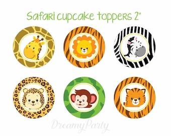 Safari cupcake toppers, Safari baby shower, Safari birthday, Jungle party, Safari stickers, Digital File.