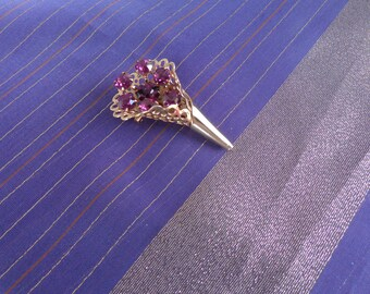 Brooch Gold Tone Flower Bouquet Brooch  with Amethyst Rhinestones-