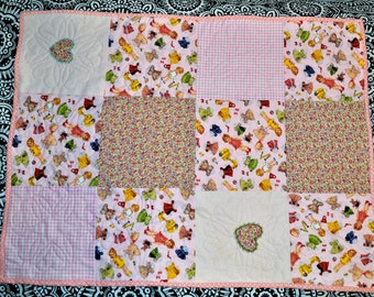 Baby girl quilt, hearts, paper doll