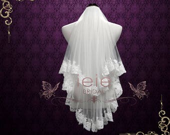 Blusher Veil | Two Tier Elbow Veil | Lace Veil | Lace Wedding Veil | Ivory Veil | Lace Edge Veil | Bridal Veil | Elbow Length Veil | VG1015