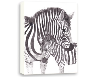 Zebra Canvas - Watercolor Nursery Art - Safari Animals Nursery - Baby Nursery Decor - Z301