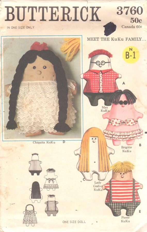 Butterick 3760 1960er Jahre KuKu Familie Puppen Muster 16 Zoll