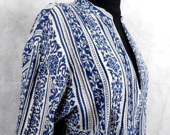 Vintage Ralph Lauren Top, Blue and White Blouse, Denim y Supply Ralph Lauren, Cotton Top, Size M/M