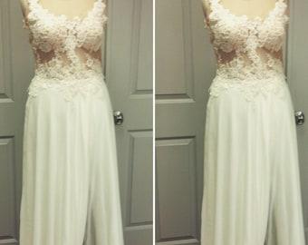 Beach Wedding Dress , Custom Made , Chiffon Skirt with deep side slit