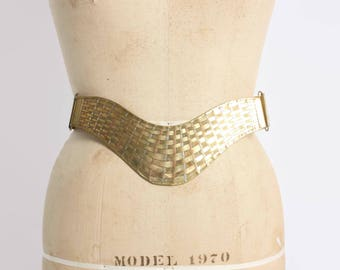 Vintage Woven BRASS BELT / 1980s Wide Brass Copper Silver Basketweave Metal Boho Belt