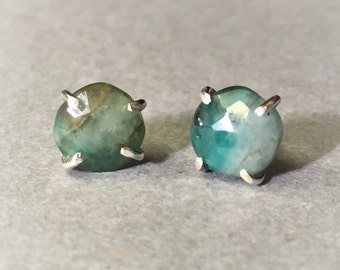 Raw Emerald Stud Earrings, Raw Emerald Studs, Natural Emerald Gemstone, 925 Sterling Silver