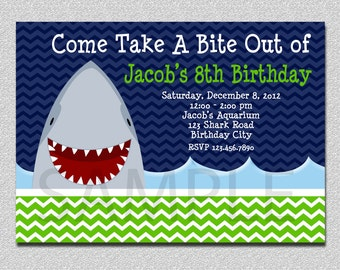 Shark Birthday Invitation,  Shark Birthday Party Invitation, Shark Invitation, Boys Birthday Invitation,  Shark Birthday Party , Boys Invite