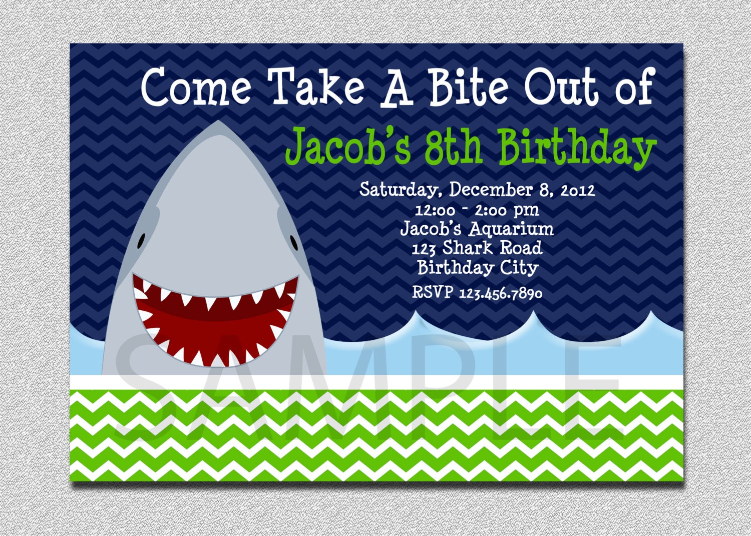 Shark Birthday Invitation Shark Birthday Party Invitation