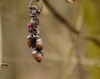 Electroformed TWIG necklace, Plant necklace,  botanical necklace, naturelover,copper, electroformed, galvanized twig, gemstone plant pendant