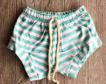 baby shorts, toddler shorts, summer clothing, sweat shorts, striped shorts
