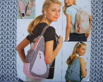 2000s sewing pattern Butterick 5054 backpacks and Ipod covers