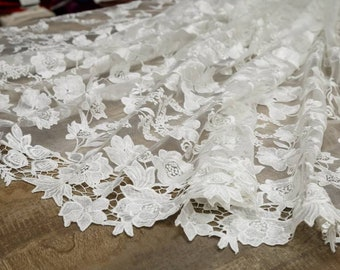 Latest fashion ivory lace, embroidery lace, lace fabric,tulle bridal lace guipure french lace fabric for wedding dress-1 / yard