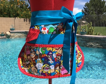Mario Brothers Half Apron, Womens Regular and Plus Sizes, great for Vendors, Utility, Gardening, Teachers Aprons, Crafts, Farmers Market