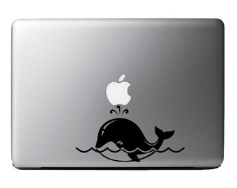 Happy Whale Blowhole Family Vinyl Decal Sticker Skin for Apple MacBook Pro Air Laptop iPad