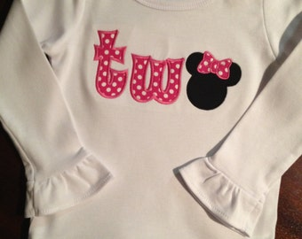 """Minnie Mouse """"Two"""" ruffle shirt"""
