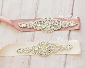 Bridal Sash...Champagne Rhinestone Belt -Flower Girl Sash..Dusty Blush Bridal Belt/ Sash..Bridesmaid Sash /belt..Rhinestone Crystal Sash