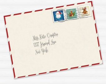 Printable Envelope For Letter From Santa Or Christmas Letter Printable  Download   Santas Envelope
