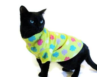 Paw Print Fleece Cat Shirt-Fleece Cat Shirt-Cat Sweatshirt-Cat Clothes-Sphynx Cat Clothing-Cat Sweater-Clothes for Cats-Cat Shirts