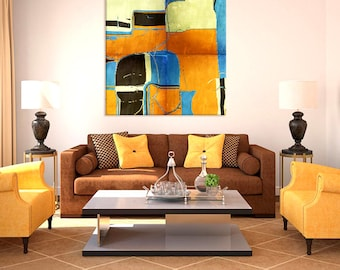 SAND AND SEA contemporary abstract print, gold blue black hues, square format in large sizes, wall art for home or office