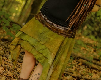 pixie fairy gypsy hippie doily tattered lace handdyed wrap skirt in earthy shades