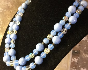 Stunning Clear Crystal Blue Glass Bead Single Strand Necklace Unsigned 1970's 1980's Luscious French Powder Blue Beads Feminine Woman