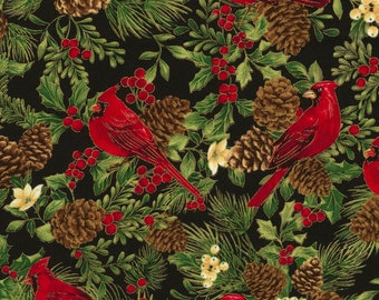 Fabric Christmas Cardinals from the Joyful Seasons Collection by Timeless Treasures
