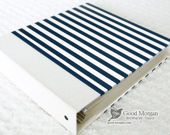 0 to 12 months Baby Memory Book - Navy Stripes
