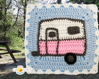 Vintage Travel Camper Trailer Square Motif - CROCHET PATTERN PDF- 11.5 inch Square - August Caravan Calendar Blanket - Jayda InStitches