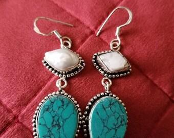 Turquoise and Biwa Pearl Earrings!