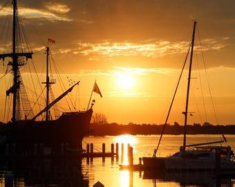 Boat Print, Boat Photograph, Ship photograph, Ship print, Sunset print, water print, sunrise photography, lake photo, river, sillouhette