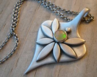 Rhiannon Goddess Pendant Ethiopian Opal PMC Artisan Jewelry Metal Clay Sterling Silver
